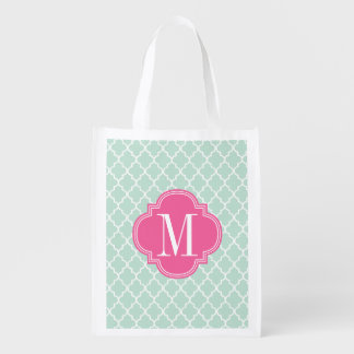 Mint Moroccan Tiles Lattice Personalized Reusable Grocery Bag
