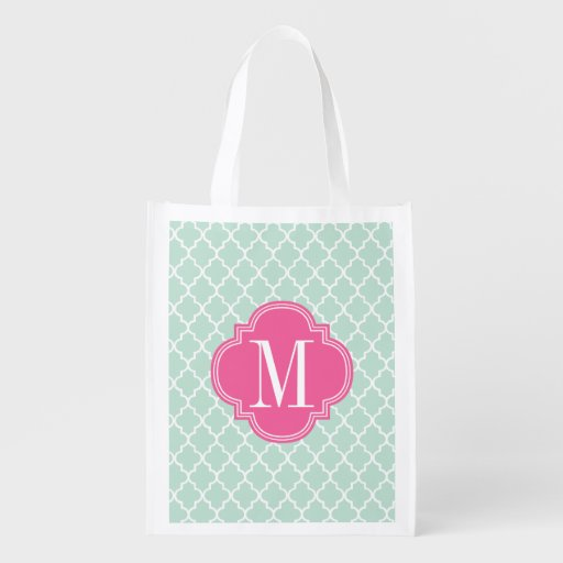 Mint Moroccan Tiles Lattice Personalized Grocery Bags