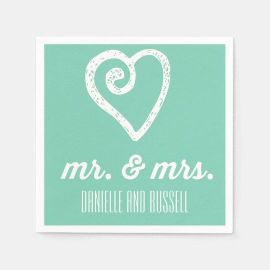 Mint Mr and Mrs Custom Wedding Engagement Napkins