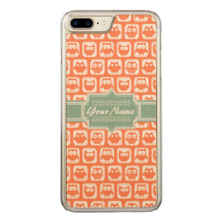 Mint Name Orange Owls Carved iPhone 7 Plus Case