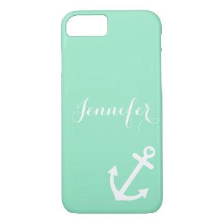 Mint Nautical Anchor Monogram iPhone 8/7 Case