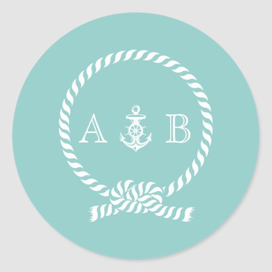 Mint Nautical Rope and Anchor Monogram Round Sticker