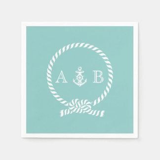 Mint Nautical Rope and Anchor Monogrammed Disposable Napkins