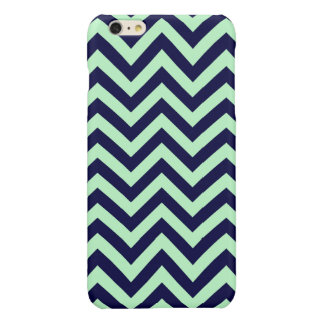 Mint, Navy Blue Large Chevron ZigZag Pattern iPhone 6 Plus Case