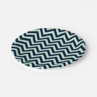 Mint, Navy Blue Large Chevron ZigZag Pattern Paper Plate