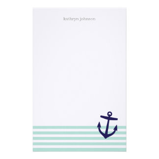 Mint & Navy Blue Nautical Stripes and Cute Anchor Stationery
