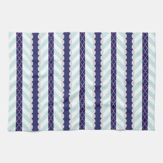 Mint, Navy Blue, White Geometric Striped Pattern Tea Towel