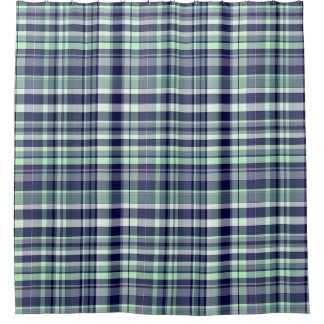 Mint, Navy Blue, White Preppy Madras Plaid Shower Curtain