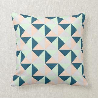 Mint Navy Peach Grey Geometric Triangles Pillow