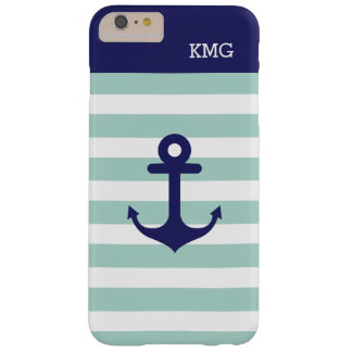 Mint Navy Strips Pattern Nautical Anchor Monogram Barely There iPhone 6 Plus Case