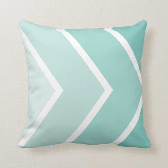 Mint Ombré Chevron Stripes Pattern Cushion