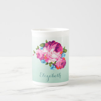 Mint Ombre Floral Personalised Bone China Mug