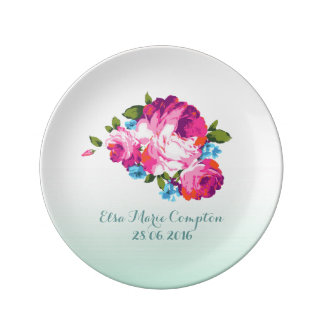 Mint Ombre Floral Personalised Porcelain Plate