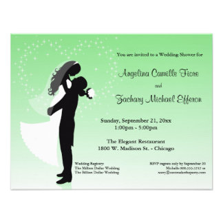 Mint Ombre Silhouette Formal Shower Invitation