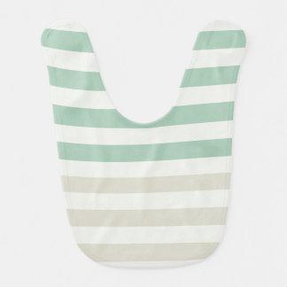 Mint, Pale and White Stripes Bib