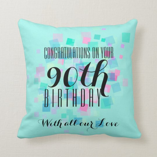 Mint Pastel Colours 90th Birthday Custom Pillow 3
