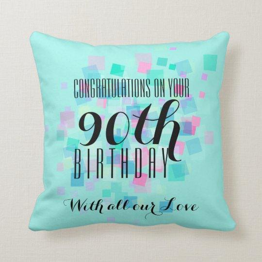Mint Pastel Colours 90th Birthday Custom Pillow 3