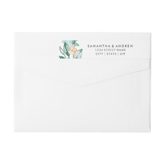 Mint & Peach Floral Wreath Chic Watercolor Wedding Wrap Around Label