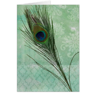 Mint Peacock Feather Card
