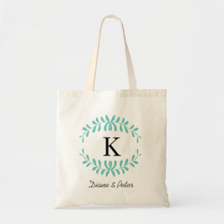 Mint Personalized Monogram Wedding Favour Budget Tote Bag