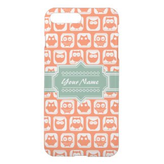 Mint Personalized Name Orange Owls iPhone 7 Plus Case