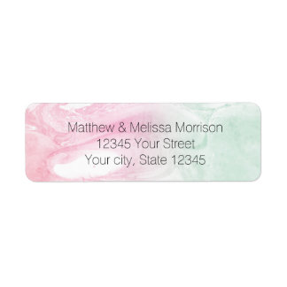 Mint Pink Abstract Personalized Address Labels
