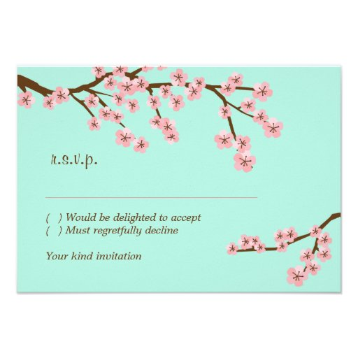 Mint & Pink Cherry Blossom RSVP w/ envelopes Personalized Announcement