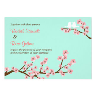 Mint Pink Cherry Blossom Wedding Card