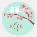 Mint & Pink Cherry Blossom Wedding Round Sticker