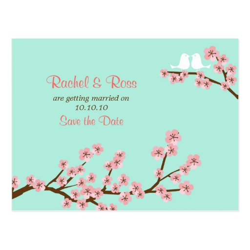 Mint & Pink Cherry Blossom Wedding Save the Date Post Cards