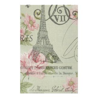 mint pink floral botanical paris eiffel tower stationery
