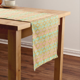 Mint & Pink Gold Chevron Tribal Chic Table Runner