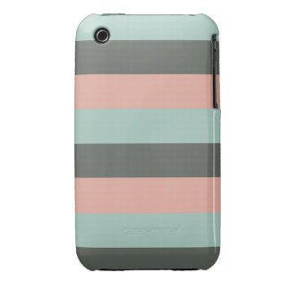 Mint Pink Gray Fashion Trendy Stripes Mod Pattern Case-Mate iPhone 3 Cases
