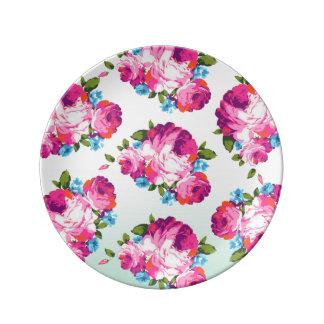 Mint & Pink Ombre Floral Porcelain Plate
