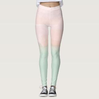 Mint Pink Ombre Watercolor Leggings