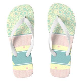 Mint Pink Pastel Swirls and Stripes Fip Flops Flip Flops