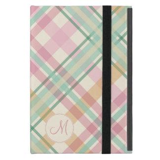 mint pink raspberry orange pastels plaid monogram cover for iPad mini