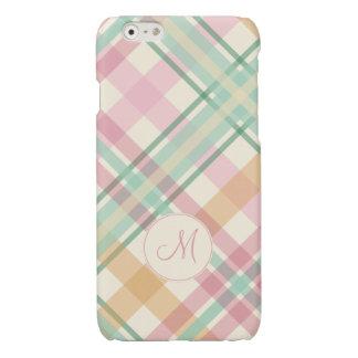 mint pink raspberry orange pastels plaid monogram iPhone 6 plus case