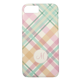 mint pink raspberry orange pastels plaid monogram iPhone 8/7 case