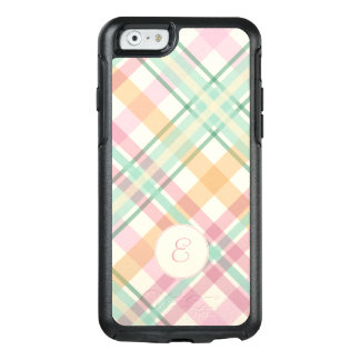 mint pink raspberry orange pastels plaid monogram OtterBox iPhone 6/6s case