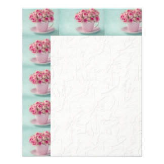 mint,pink roses,shabby chic,elegant,hipster,modern 11.5 cm x 14 cm flyer