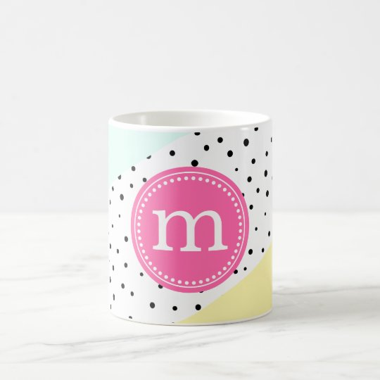 Mint, Pink & Yellow Summer Personalised Monogram Coffee