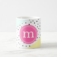 Mint, Pink & Yellow Summer Personalized Monogram Coffee Mug