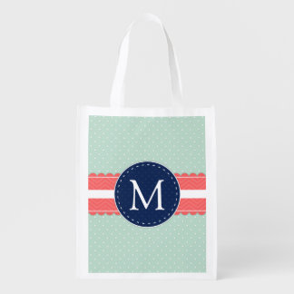 Mint Polka Dot Pattern Coral Navy Blue Monogram Reusable Grocery Bags