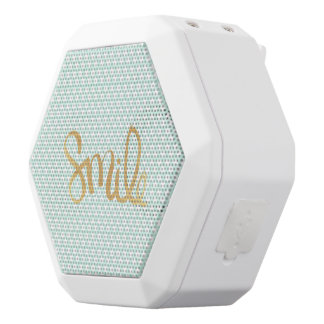 Mint polka dot,white,gold,smile,trendy,chic white boombot rex bluetooth speaker