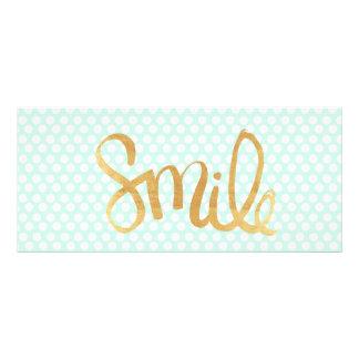 Mint polka dot,white,gold,smile,trendy,chic custom rack card