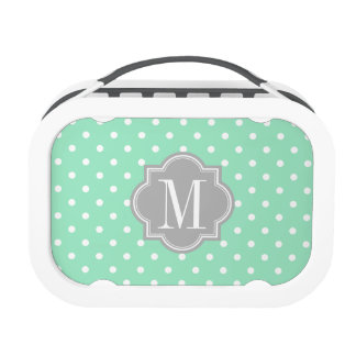 Mint Polka Dot with Gray Monogram Lunch Box