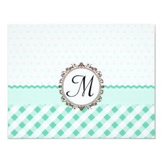 Mint Polkadots, Check and Stripes with Monogram 11 Cm X 14 Cm Invitation Card