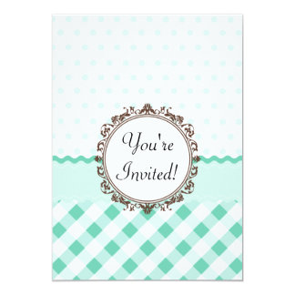 Mint Polkadots, Check and Stripes with Monogram 13 Cm X 18 Cm Invitation Card