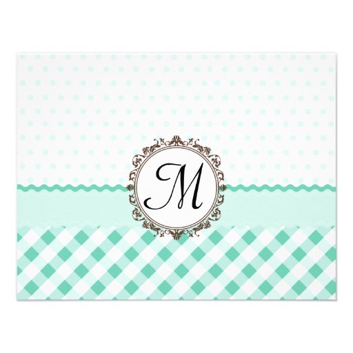 Mint Polkadots, Check and Stripes with Monogram Personalized Announcements